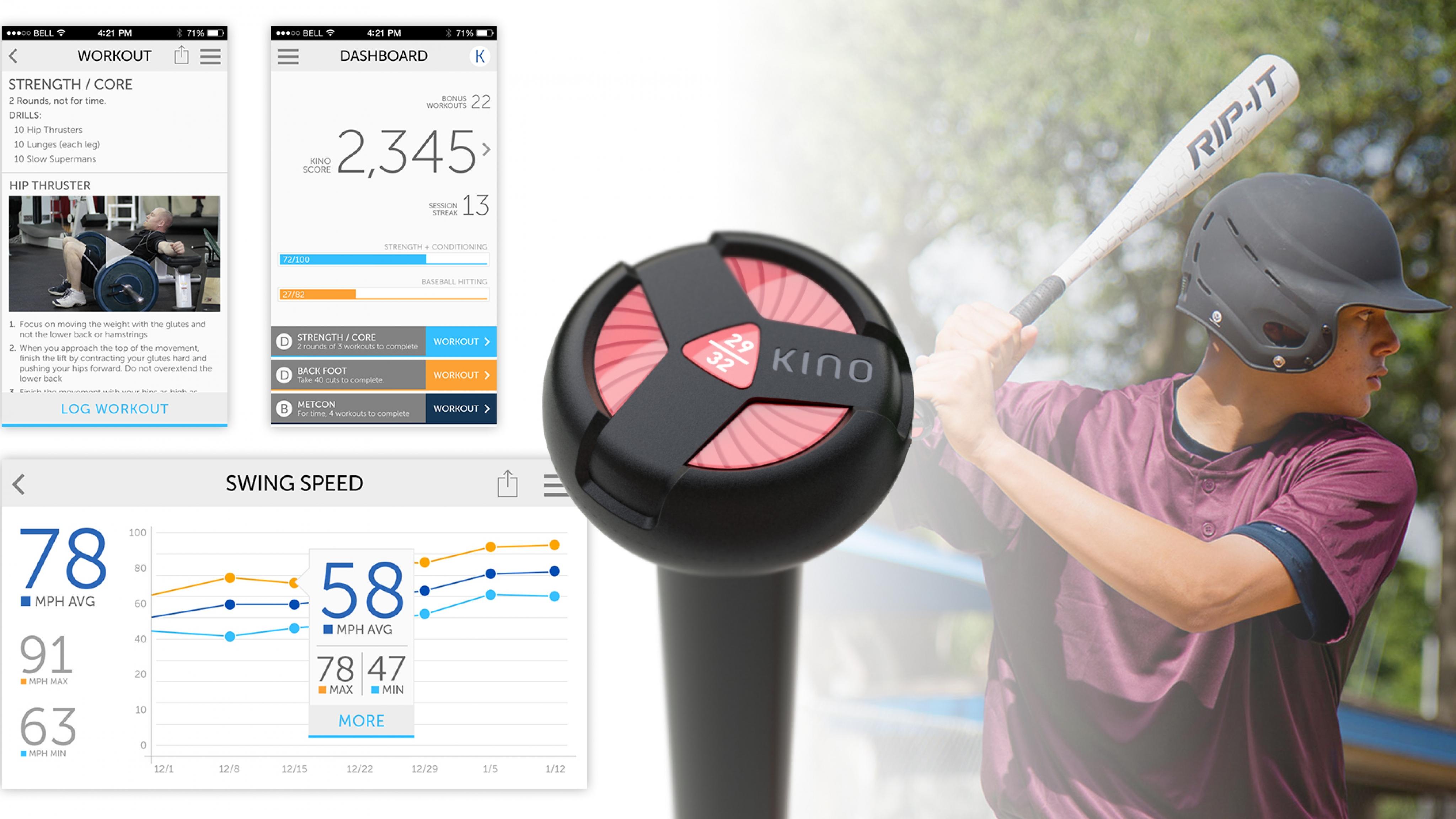 KINO Coaching App and RIP-IT Smart Bat   ROBRADY design